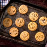 Photograph biscuits on a baking tray