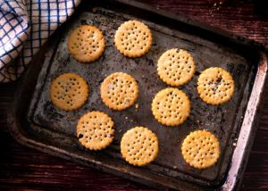 Food Photograph. Biscuits on a baking tray