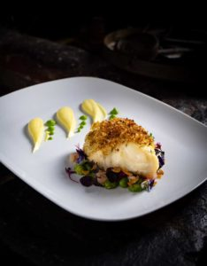 Food photography Fine Dining. fish, Baked cod